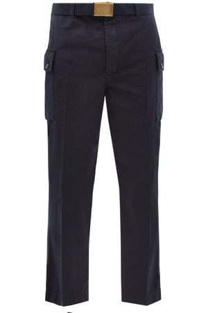 OFFICINE GENERALE Maxence Belted Cotton Trousers - Mens - Navy