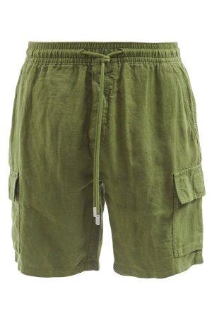Vilebrequin Men Shorts - Baie Patch-pocket Linen Shorts - Mens - Khaki