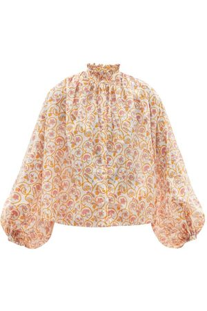 Women Blouses - Thierry Colson - Slava Gathered Floral-print Cotton-voile Blouse - Womens - Print