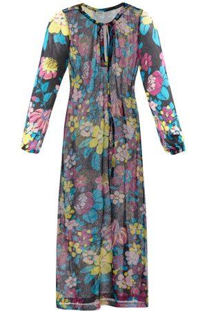 Saint Laurent - Floral-print Crepe Midi Dress - Womens - Multi