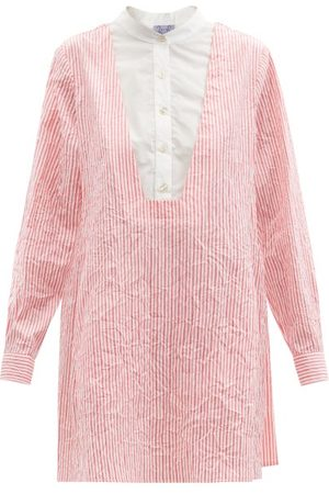 Thierry Colson - Victoria Crinkled Stripe Cotton-sateen Shirt Dress - Womens - Stripe