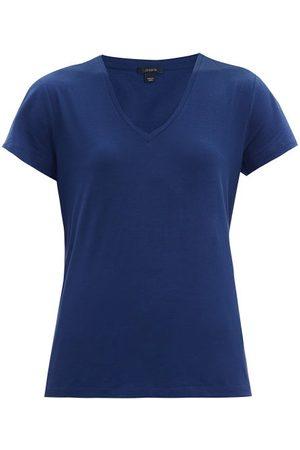 Women T-shirts - Joseph - V-neck Cotton-jersey T-shirt - Womens - Navy