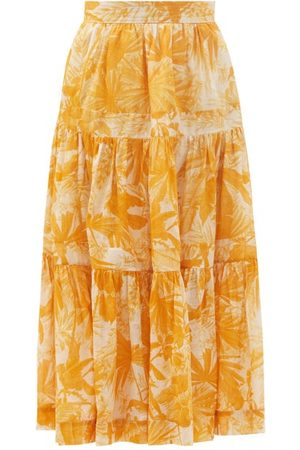 ZIMMERMANN Mae Palm-print Tiered Cotton Midi Skirt - Womens - Print