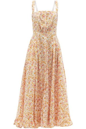 Women Printed Dresses - Thierry Colson - Rossana Floral-print Cotton-poplin Maxi Dress - Womens - Print