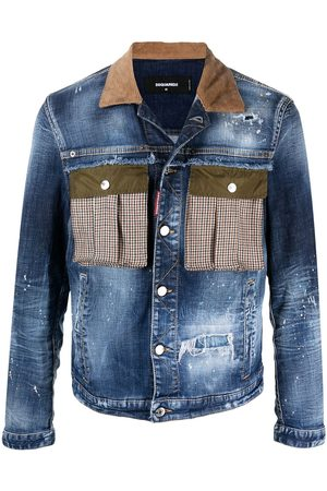 Dsquared2 Contrasting-collar ripped denim jacket