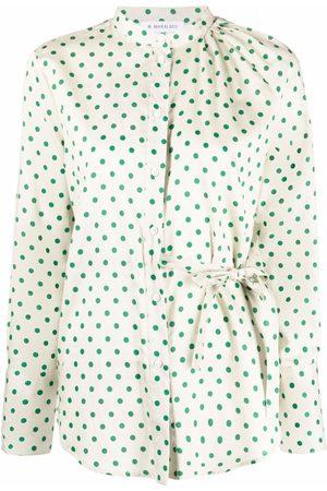 Manuel Ritz Cold-shoulder dot-print blouse - Neutrals
