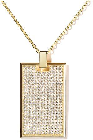 AS29 18kt yellow TAG large pavé diamond rectangle pendant necklace