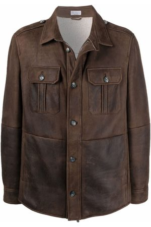 Brunello Cucinelli Men Leather Jackets - Chest-pocket leather shirt jacket