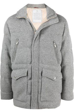 Brunello Cucinelli Men Puffer Jackets - Cashmere padded down coat - Grey