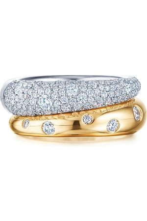 Kwiat 18kt white and yellow Cobblestone diamond double band ring