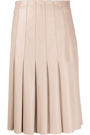 Karl Lagerfeld Pleated faux-leather skirt - Neutrals