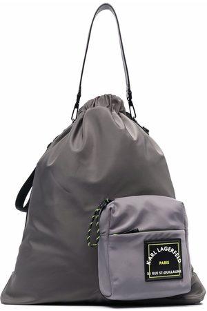 Karl Lagerfeld Logo-pocket drawstring backpack - Grey