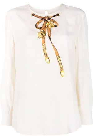 Moschino Women Long Sleeve - Logo bow print long-sleeve top - Neutrals