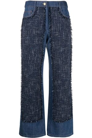 Moschino Wide-leg contrast jeans