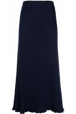 12 STOREEZ Ribbed-knit mid-length skirt