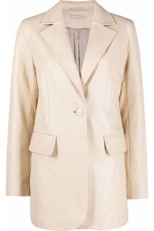12 STOREEZ Single-breasted lambskin coat - Neutrals