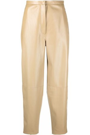 12 STOREEZ Leather-look tapered trousers - Neutrals
