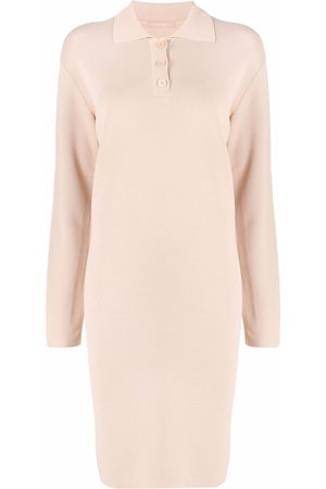 12 STOREEZ Knitted polo-collar dress - Neutrals