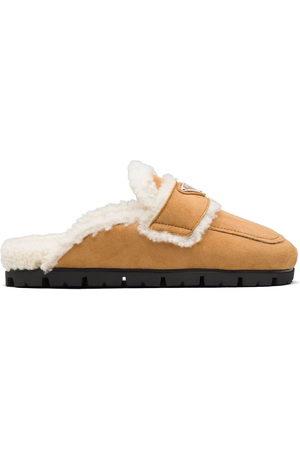 Prada Triangle logo lined slippers