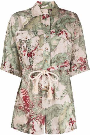 ZIMMERMANN Women Playsuits - Leaf-print short-sleeve playsuit