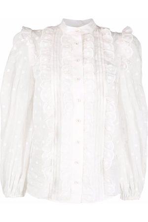ZIMMERMANN Women Shirts - Mae ruffled-trim ramie shirt