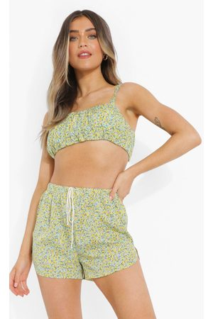 Boohoo Womens Ditsy Floral Ruched Crop Top - - 4