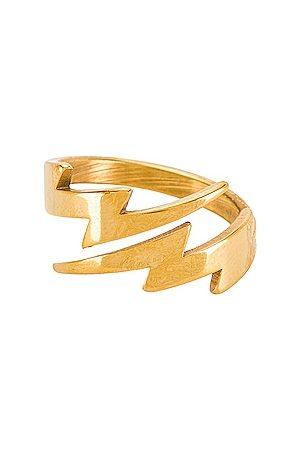 BRACHA Lightning Bolt Ring in Metallic .