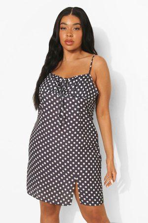 Boohoo Womens Plus Polka Dot Tie Front Mini Dress - - 24