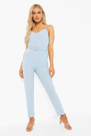 Boohoo Womens Cami Strap Belted Turn Up Hem Jumpsuit - - 4