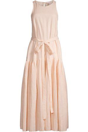 REBECCA TAYLOR Women Maxi Dresses - Women's Belted Drop-Waist Sleeveless Maxi Dress - Sunset - Size XS