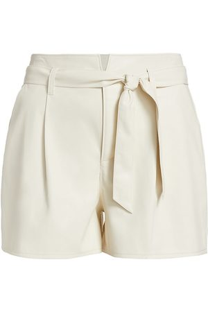 Paige Women's Melila Belted Pleated Shorts - Ecru - Size 10