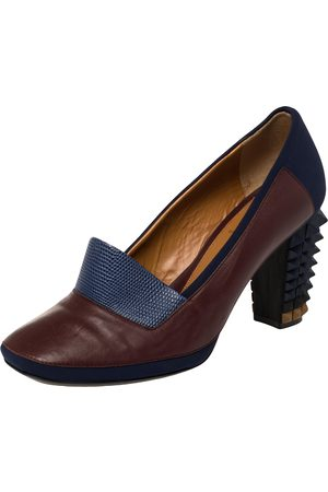 Fendi Women Heeled Pumps - /Blue Lizard Embossed Leather and Fabric Polifonia Court Studded Heel Pumps Size 39