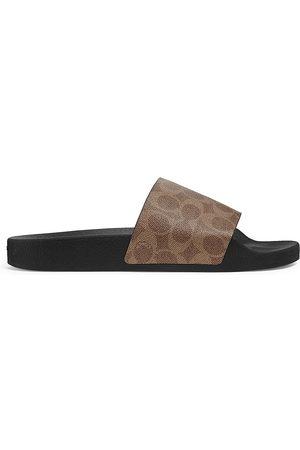 Coach Men Sandals - Men's Siganture Monogram Printed Slide Sandals - Khaki - Size 9