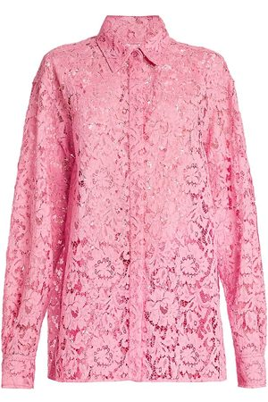 VALENTINO Women's Lace Button-Down Shirt - - Size 0