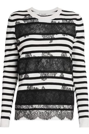 VALENTINO Women's Lace Panel Striped Sweater - - Size XL