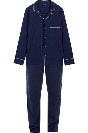 Hom Men's 2-Piece Long-Sleeve Piped Pajama Set - Navy - Size XL