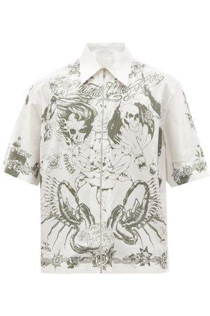 Givenchy - Short-sleeved Tattoo-print Cotton-poplin Shirt - Mens