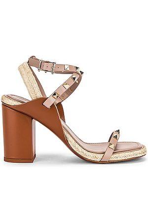 VALENTINO GARAVANI Rockstud Espadrille Sandals in Taupe