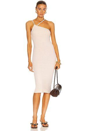 ENZA COSTA For FWRD Silk Rib Strappy Asymmetric Midi Dress in Beige