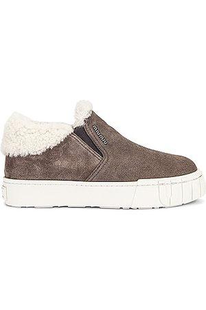 Miu Miu Suede Slip On Sneakers in Grey