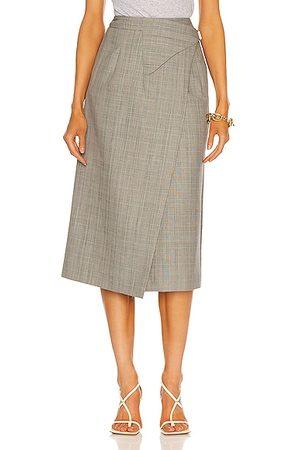 WARDROBE.NYC Women Midi Skirts - Wrap Midi Skirt in Grey