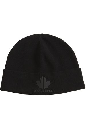 DSQUARED2 Logo Patch Wool Blend Beanie Hat