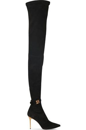 BALMAIN 95mm Stretch Suede Over-the-knee Boots