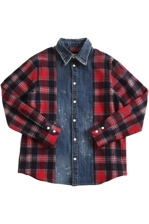 Dsquared2 Check Print Flannel & Denim Shirt