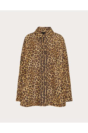 VALENTINO Women Coats - Printed Micro Faille Pea Coat Women Animal Print Silk 23%, Cotton 77% 36
