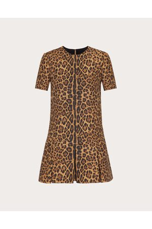 VALENTINO Women Printed Dresses - Printed Crepe Couture Dress Women Animal Print Silk 35%, Virgin Wool 65% 36