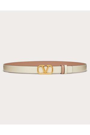 VALENTINO GARAVANI Women Belts - Reversible Vlogo Signature Belt In Glossy Calfskin 20mm Women Light Ivory/rose Cannelle 70
