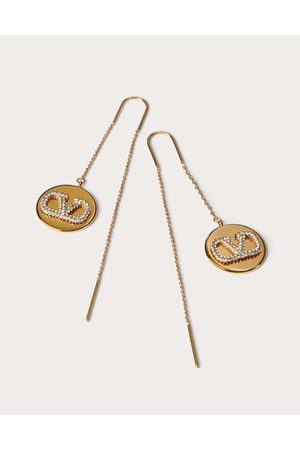 VALENTINO GARAVANI Vlogo Signature Earrings In Metal And Swarovski® Crystals Women Brass 100% OneSize