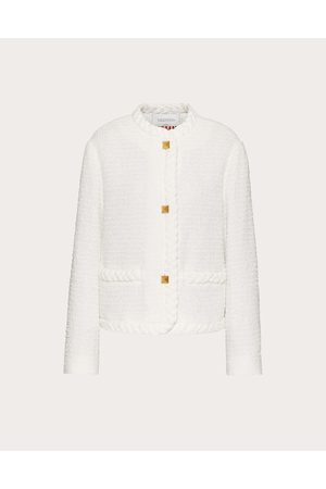 VALENTINO Women Jackets - Cotton Tweed Jacket Women Optic Viscose 11%, Cotton 69% 38