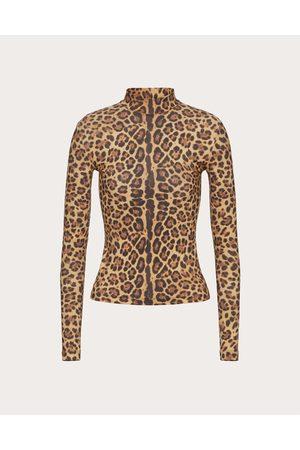 VALENTINO Printed Jersey T-shirt Women Animal Print Elastane 29% L